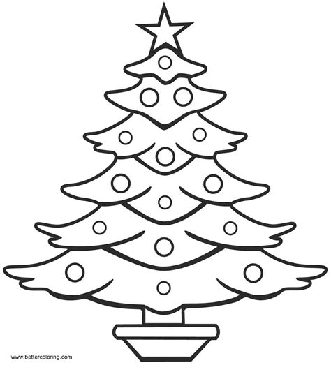 simple christmas tree coloring pages  art