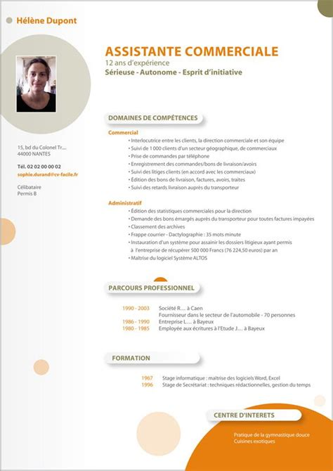 Un Exemple De Cv by T 233 L 233 Charger Exemple De Cv D Un Commercial Curriculum