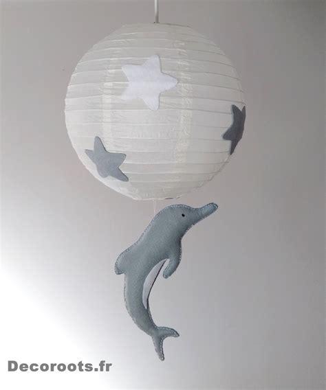 abat jour chambre garcon lustre suspension dauphin gris beige blanc mixte enfant