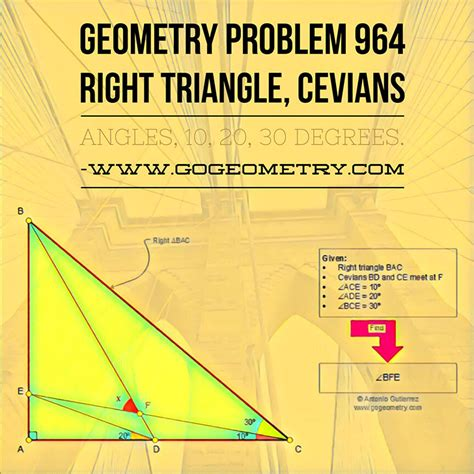 geometry problem 964 right triangle cevians angles 10 20 30 degrees mobile apps math
