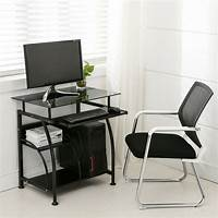 computer workstation furniture Black PC Corner Computer Desk Home Office Laptop Table ...