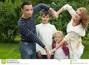 Family Making Heart Symbol From Hands Outdoors Stock Photo ...