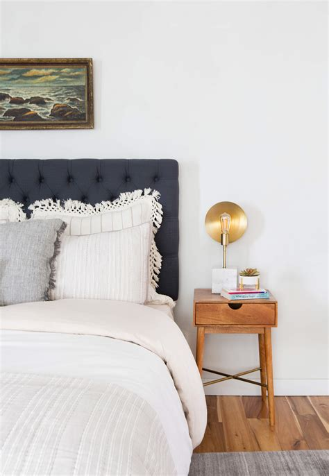 neutral bed styling  staged guest suite emily henderson