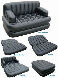 Air inflated sofa bed 5 in 1 inflatable bestway velvet for Sofa and bed in one