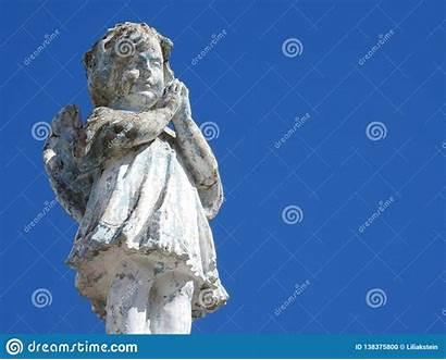 Praying Angel Statue Close Clasped Hands Scene