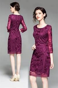Robe Mariage Dentelle : robe cocktail mariage courte prune en dentelle fleurie ~ Mglfilm.com Idées de Décoration