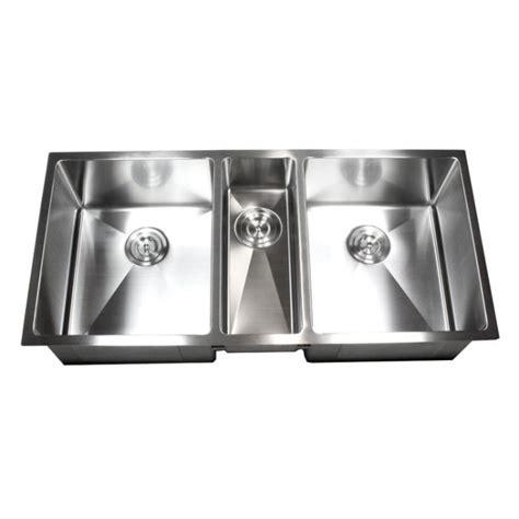 three bowl kitchen sink 42 inch 16 stainless steel undermount zero radius 6105