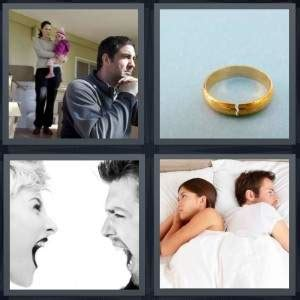 4 pics 1 word answer for angry broken yell separate