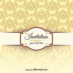 Invitation template with damask pattern vector free download for Damask wedding invitations template free