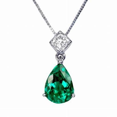 Emerald Pendant Necklace Colombian Emeralds Pear Heart