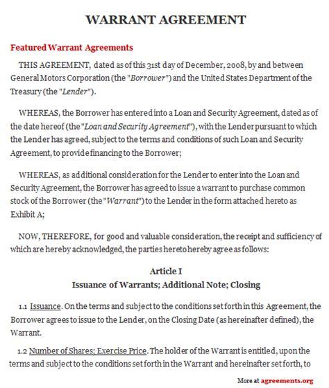 warrant agreement sample warrant agreement