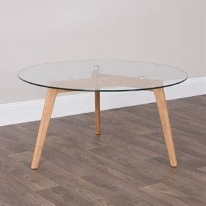 Buy Kote Round Glass Coffee Table  Oak Legs Graysonline