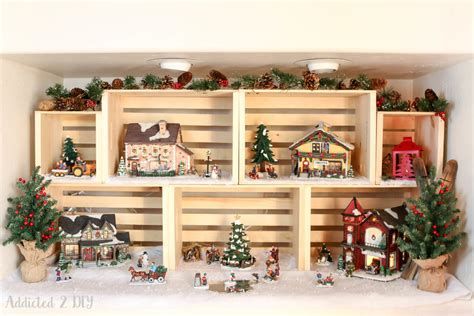 christmas village display  addicted  diy crates