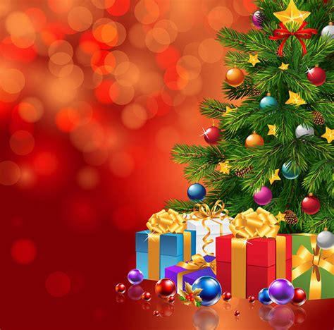 red christmas background  xmas tree  gifts