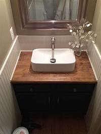 bathroom countertops with sink My talented husband renovated out upstairs half- bath in ...