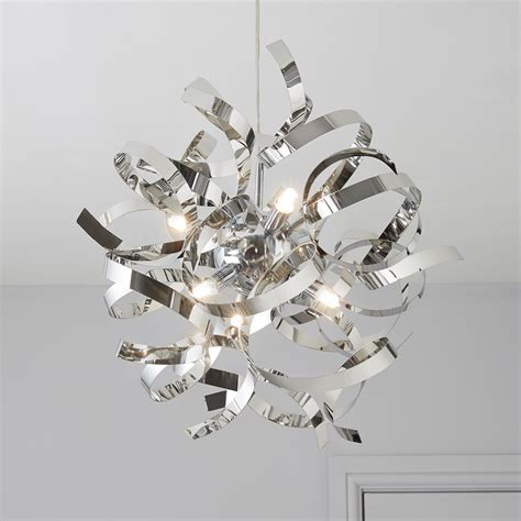 heka curled chrome effect 6 l pendant ceiling light