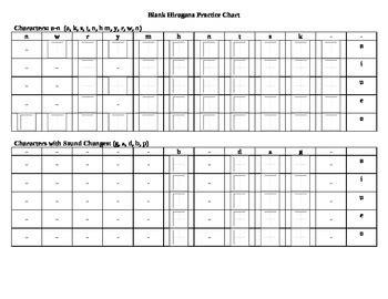 blank hiragana practice chart  jamie goekler tpt