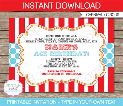 party favor labels circus invitation template aqua circus invitations