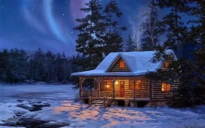 Cabin Scenes Desktop Log Northern Lights Wallpapersafari