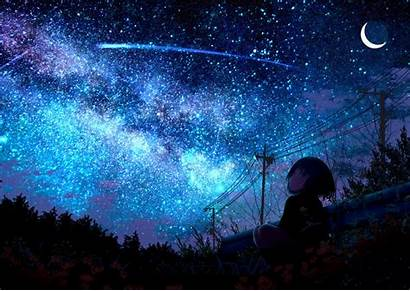 Shooting Star Lonely Anime Starring Wallpapers Background