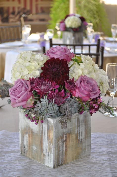 fall  rustic style centerpiece  lavender  plum