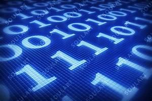 Binary code on digital plane blue background by ...