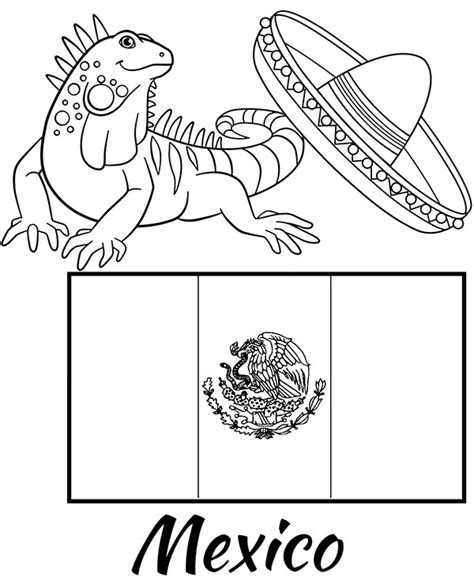 coloring page mexican flag educational coloring sheet