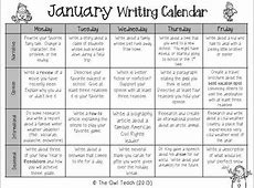 Writing Calendar 20 Prompts for the Month of January by