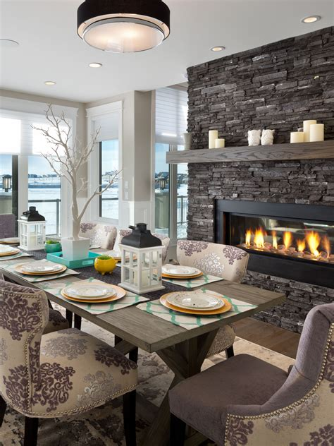 gorgeous dining room    gas fireplace home