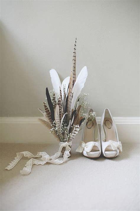 unique wedding bouquet ideas  feathers