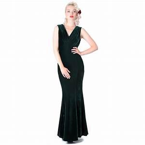 Collectif Claudette Green Velvet 30s 40s WW2 Vintage Long ...