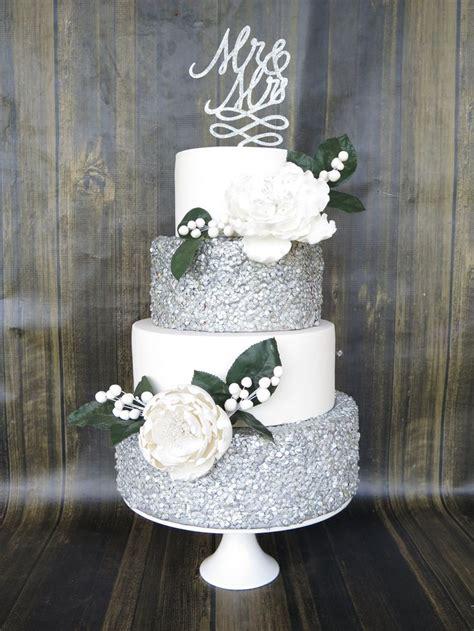 tier wedding cake silver edible confettisequins