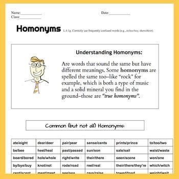 homonyms  pg lessonworksheet handout quiz