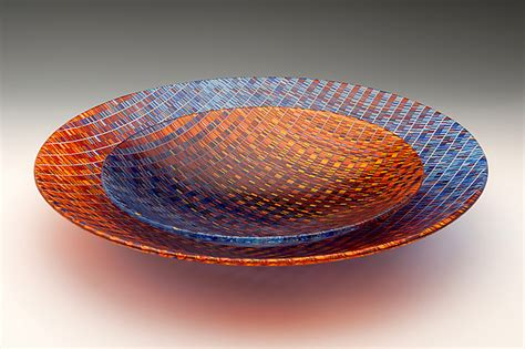 red  blue tapestry bowls  richard parrish art glass