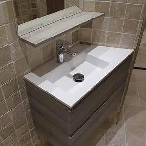 meubles salle de bain plan en resine vasque moulee With plan vasque salle de bain sur mesure