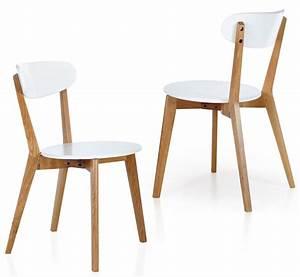 Chaise En Bois Blanc : lot de 2 chaises en bois clair et pvc blanc shiny ~ Teatrodelosmanantiales.com Idées de Décoration