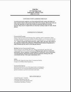 Reference Cover Letter For Resumes Construction Foreman Resume Occupational Examples Samples