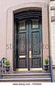 Elegant front entry double doors on a Greenwich Village ...