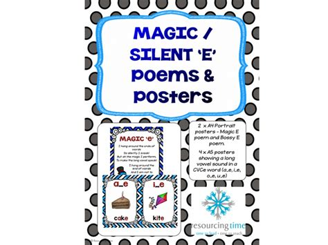 Bossy E / Magic E Poems And Posters By Resourcingtime