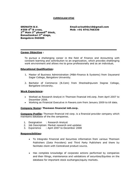 Resume For by Entry Level Career Objective For Resume For Fresher In Reserach Analyst