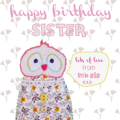 happy birthday sister greeting card  buttongirl designs