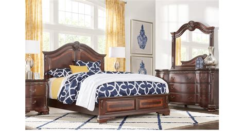 cortinella cherry  pc king panel bedroom traditional