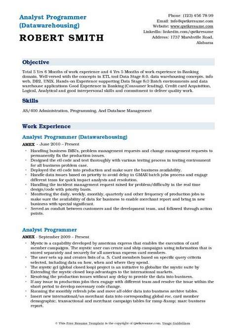 analyst programmer resume sles qwikresume