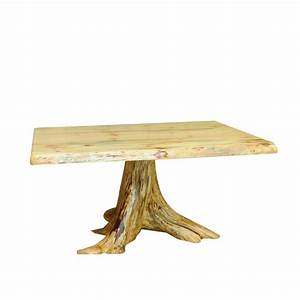 Knotty Pine Live Edge Dining Table With Stump Base - Amish