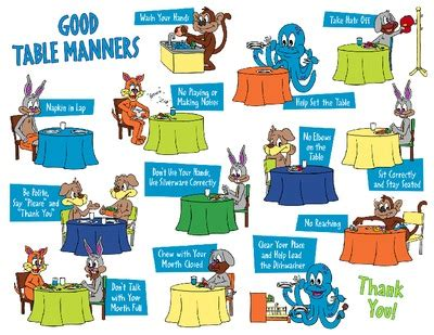 table manners for kids help for parents to remind kids of the good manners they