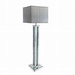 Rosalie floor lamp in silver shade with mirrored base 26999 for Floor lamp with silver base