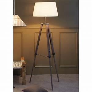 Lampadaire Trepied Blanc : lampadaire tr pied en bois avec abat jour en coton hauteur 163cm octave blanc ~ Teatrodelosmanantiales.com Idées de Décoration