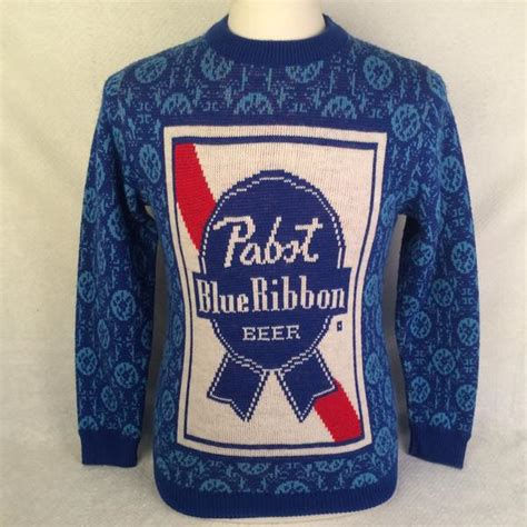 vintage sweater vintage pabst blue ribbon sweater bar closet