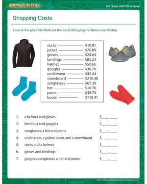 2nd grade math worksheets free printable shopping costs free printable math worksheets for 6th grade math blaster