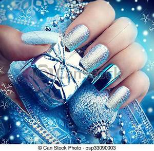 Stock graphy of Christmas nail art manicure Winter
